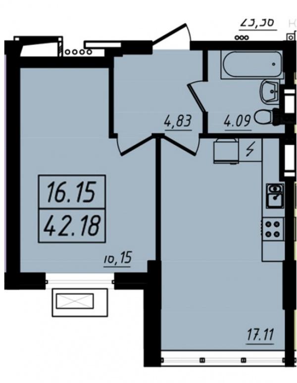 Планировки однокомнатных квартир 42.18 м^2